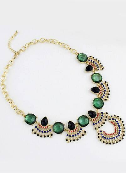 Green Gemstone Retro Gold Chain Necklace