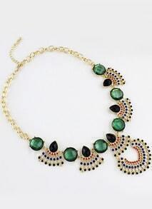 Green Gemstone Retro Gold Chain Necklace