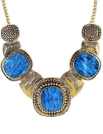 Blue Gemstone Retro Gold Collar Necklace