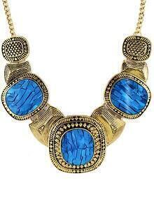 Blue Gemstone Retro Gold Collar Necklace