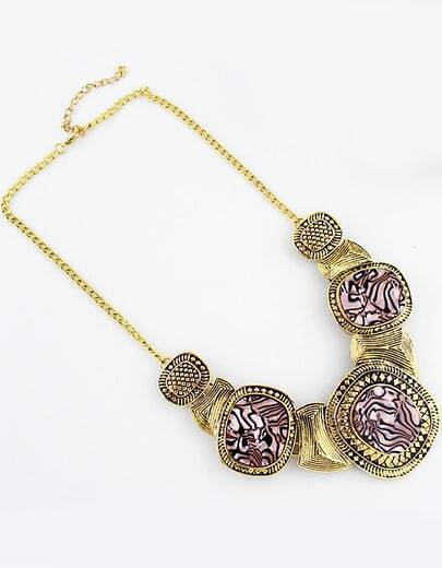 Pink Gemstone Retro Gold Collar Necklace