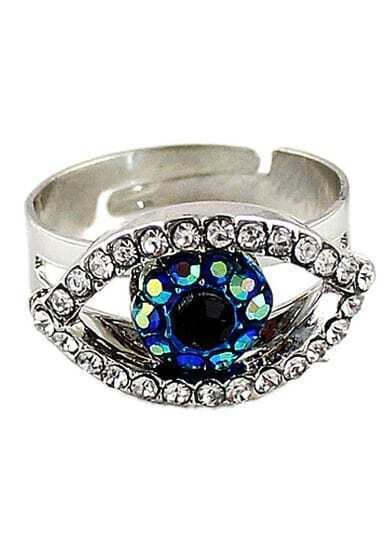 Silver Diamond Eye Ring
