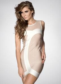 Khaki Sleeveless Contrast Mesh Yoke Bandage Dress