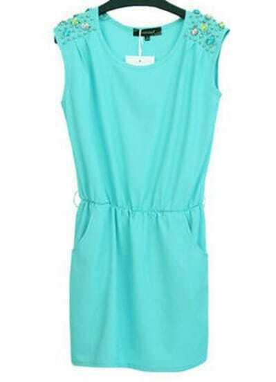 Blue Sleeveless Rhinestone Chiffon Dress