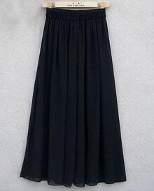 Black Elastic Waist Chiffon Shirt Pants