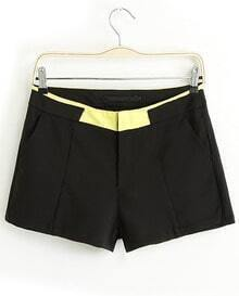 Black Contrast Yellow Pockets Straight Shorts