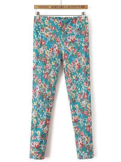 Green Elastic Floral Slim Pant