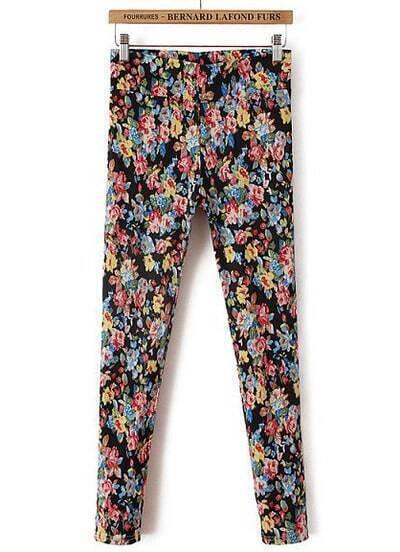 Black Elastic Floral Slim Pant