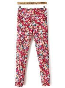 Red Elastic Floral Slim Pant