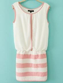 White Sleeveless Contrast Pink Striped Bodycon Dress