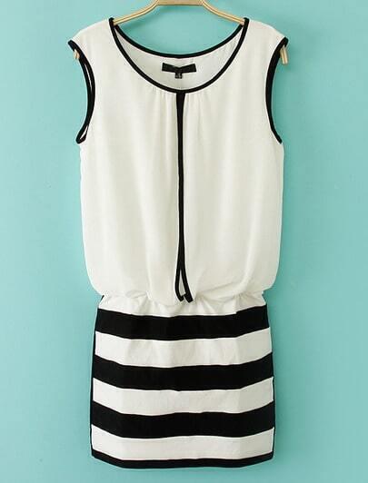 White Sleeveless Contrast Black Striped Bodycon Dress