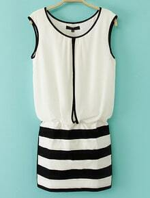 White Sleeveless Contrast Black Striped Bodycon Dress