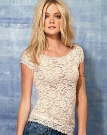 Beige Short Sleeve Lace T-shirt