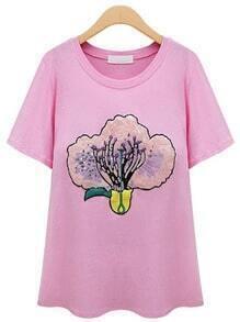 Pink Short Sleeve Flower Pattern Paillette T-shirt