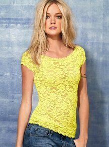 Yellow Short Sleeve Lace T-shirt