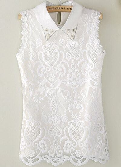 White Sleeveless Lapel Pearl Lace Blouse