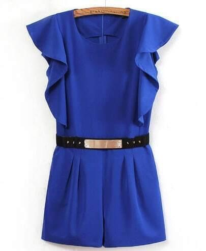 Blue Sleeveless Belt Ruffle Jumpsuit
