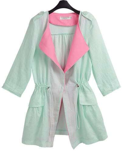 Green Half Sleeve Drawstring Two Pieces Coat