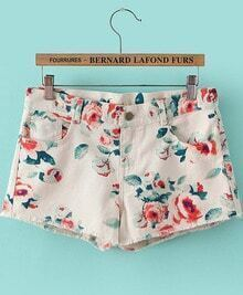 White Floral Pockets Denim Shorts