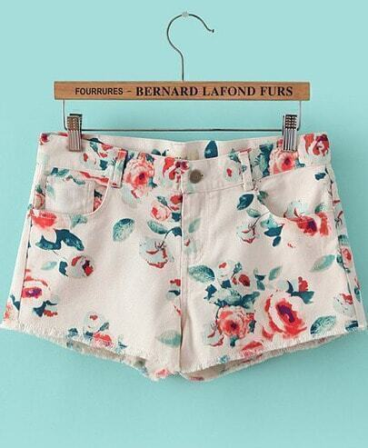 Shorts Denim floral bolsillos-blanco
