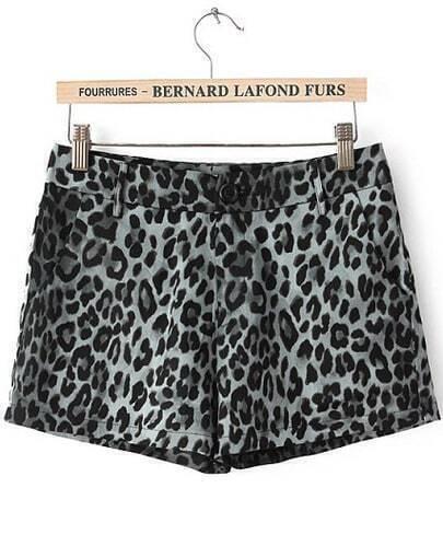 Black High Waist Leopard Straight Shorts