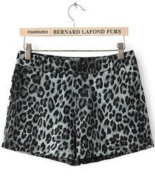 Black High Waist Leopard Straight Shorts