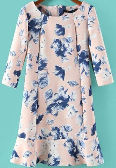 Pink Half Sleeve Blue Floral Ruffle Dress
