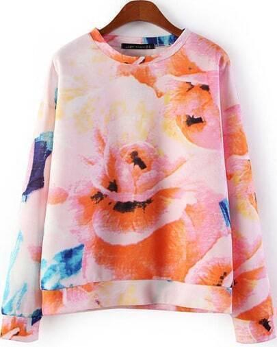 Pink Long Sleeve Floral Loose Sweatshirt