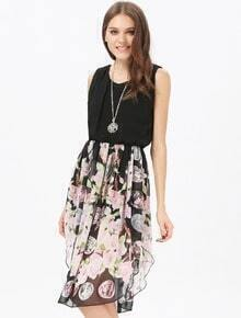 Black Sleeveless Contrast Vintage Floral Chiffon Dress