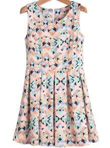 Pink Sleeveless Geometric Print Pleated Dress