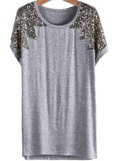 Grey Short Sleeve Sequined Modal T-Shirt
