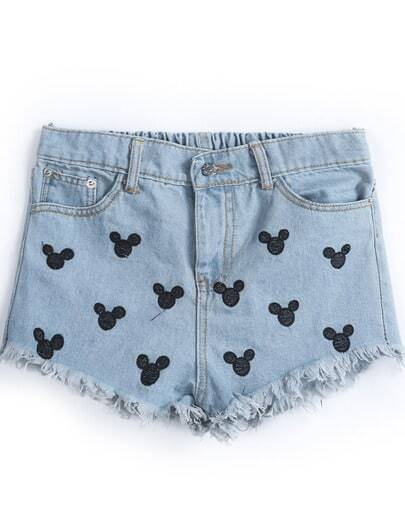 Blue Fringe Mickey Embroidered Denim Shorts