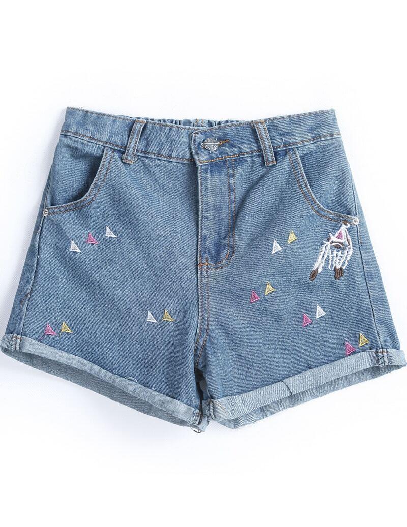 blue flange embroidered denim shorts sheinsheinside