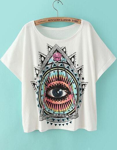 White Short Sleeve Eye Print Loose T-Shirt