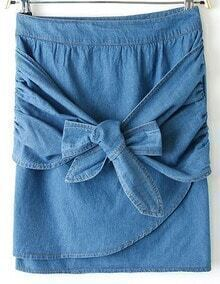 Blue Bow Bodycon Denim Skirt