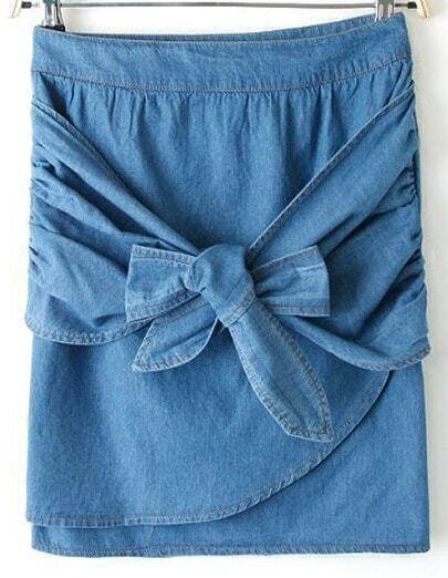 Blue Bow Bodycon Denim Skirt