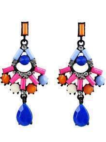 Multicolor Gemstone Drop Black Earrings