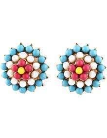 Blue Bead Flower Gold Stud Earrings