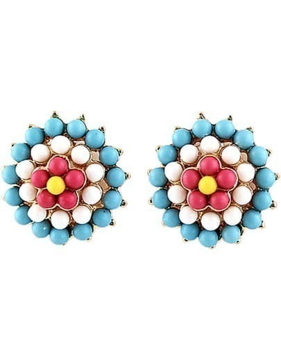 Blue Bead Flower Gold Stud Earrings
