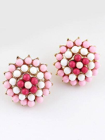 Pink Bead Flower Gold Stud Earrings