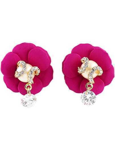 Red Diamond Flower Earrings