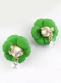 Green Diamond Flower Earrings