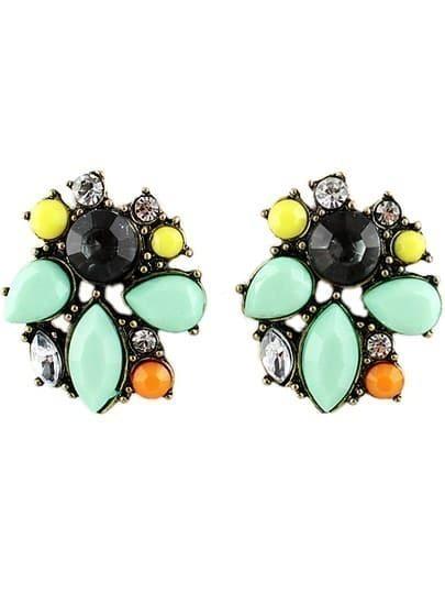 Green Gemstone Retro Gold Stud Earrings