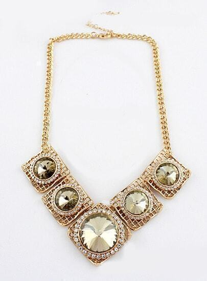 White Gemstone Gold Square Chain Necklace