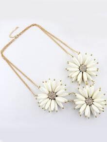 White Gemstone Flower Gold Diamond Chain Neckalce