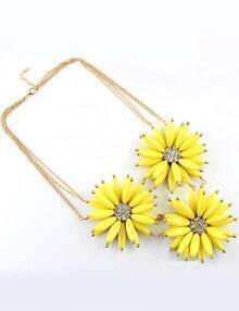 Yellow Gemstone Flower Gold Diamond Chain Neckalce