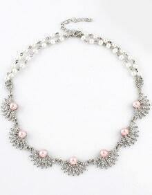 Silver Bead Diamond Necklace