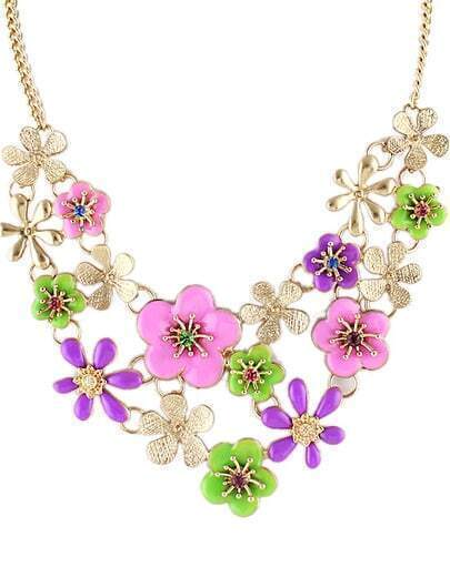 Purple Glaze Flowers Gold Chain Necklace