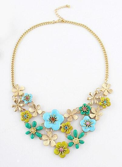 Green Glaze Flowers Gold Chain Necklace