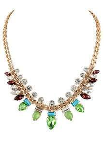Green Gemstone Fashion Gold Chain Necklace